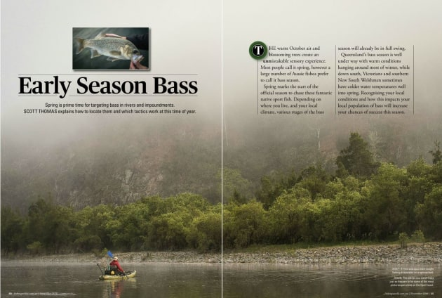 Spring is prime time for targeting bass in rivers and impoundments. Scott explains how to locate them and which tactics work at this time of year. Image: Scott Thomas