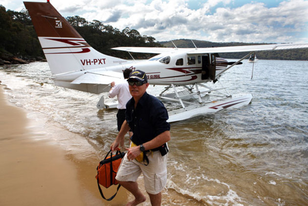 Beached on Dangar Island and looking for lunch! Paul wades ashore. (Murray Wood)