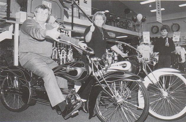 Bob and his wife Val on the opening day of their first Universe Bikes R Us store in 1997.