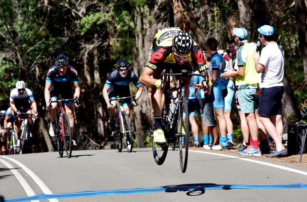 Kaufmann gets air at the West Head Road Race near Sydney. You can read his bunny hop tips below and learn to jump like a pro. Image: Nat Bromhead.