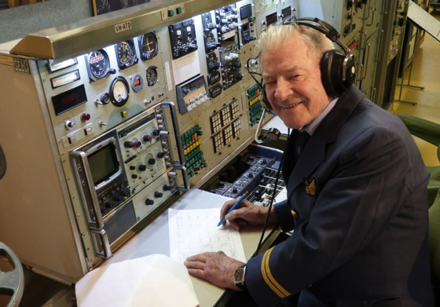 Retired Airways Surveyor and Airways Museum volunteer Bill Babb at the museum's flight survey console from Fokker F.28 Fellowship VH-ATD. (Airways Museum)
