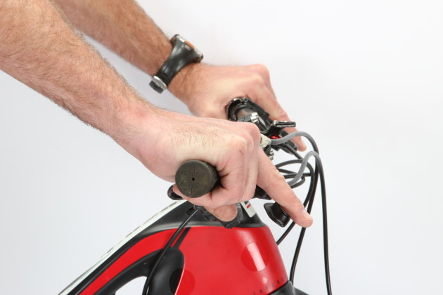 Angle the controls down so that your wrist remains straight when you