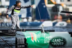 Groupama skipper Franck Cammas gesticulates at Nathan Wilmot after the collision with GAC Pindar. Photo Lloyd Images/Extreme Series.