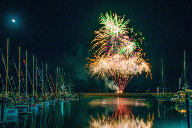 A fireworks display at Abell Point Marina during the Clipper boats' last visit. Photo Corinn Stickland.