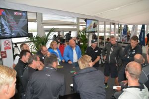 Coffee with the umpires at the Extreme Sailing Series in Cardiff. Photo Roger McMillan.