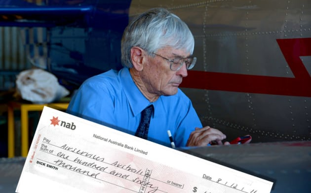 Dick Smith has sent a $160,000 cheque to Airservices Australia to fund a system of web cams around the country. (Steve Hitchen)