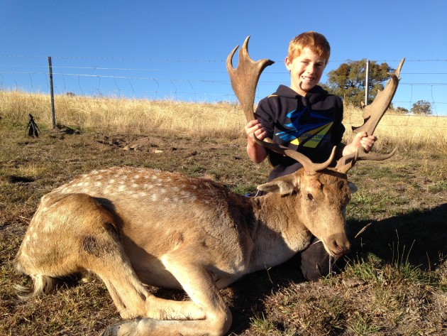 Digby Makeham with dad's fallow buck-nice
