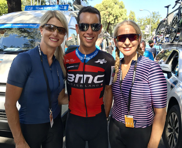 Richie Porte with supporters prior to the start of Stage 4 of the 2018 Santos Tour Down Under. Image: Nat Bromhead.