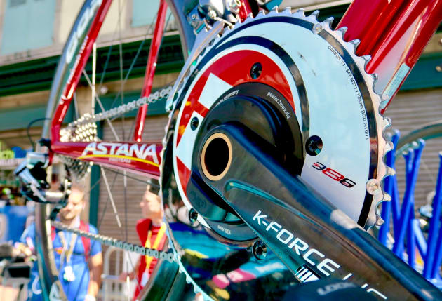 The FSA K-Force carbon crank on Fabio Aru's Argon 18 at the 2017 Tour de France. Image: Nat Bromhead