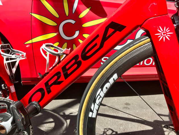 Vision Metron 40mm wheels on one of the Team Cofidis Orbea Orca Aero bikes.