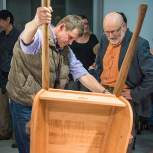 Myles Gostelow showing off his Barrow to Push to Wood Review contributing editor Richard Raffan.