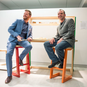 Makers David O'Brien and Jason Moore with their collaborative works in claret ash.