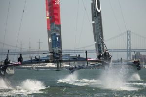 Dramatic action from the America's Cup. Photo Gilles Martin-Raget/ACEA.