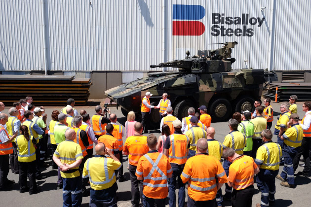 Leadership from both Rheinmetall and Bisaalloy Steel were in Wollongong for the teaming announcement.