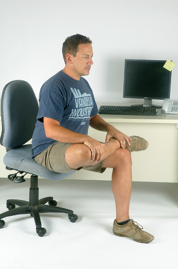Sitting all day will also cause your gluteals to shorten, resulting in an upright pelvis when in the saddle. The hip internal rotator stretch will make your handlebars seem much closer than they would otherwise.