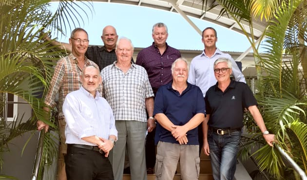 Uniting the Gold Coast International Marine Expo and Boating Industry Association at a recent meeting are, back row left-right, Paul Phelan (Telwater), Trenton Gay (Gold Coast City Marina and Shipyard), Rodney Longhurst (Riviera); middle row, Howard Glenn (BIA), Patrick Gay (BIA), Alan Blake (BIA), Stephen Milne (Riviera); and, front, Domenic Genua (BIA).