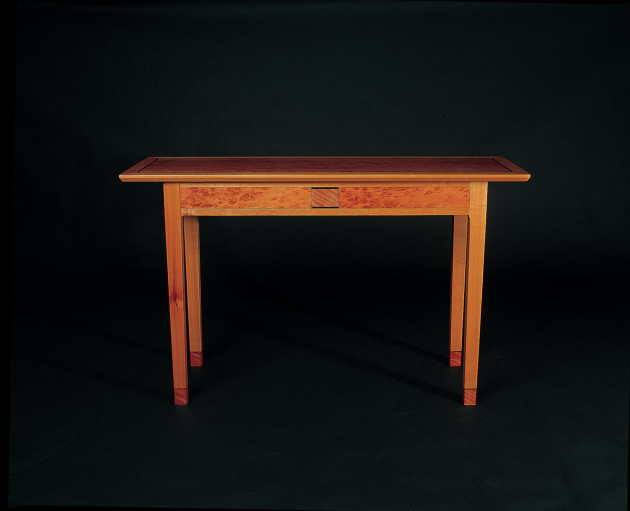 Greg Collins, table in birdseye jarrah, myrtle and ebony. Photo: Steven Blakeney