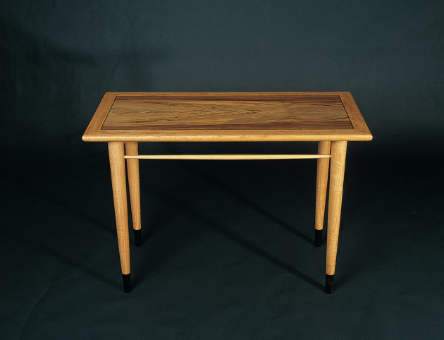 Greg Collins, table in spalted sassafras and ebony. Photo: Steven Blakeney