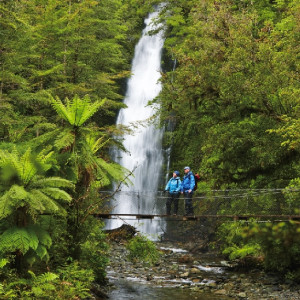 One of the gorgeous waterfalls you can see on the walk. Hollyford track.