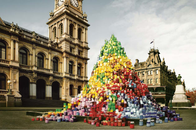 "Client: Goldfields. Agency: Publicis, Melb.  Tower of paint cans was built for location. ""Authenticity is a big part of my work, and this shot would have looked fake had we decided to use CGI."" © Simon Harsent."