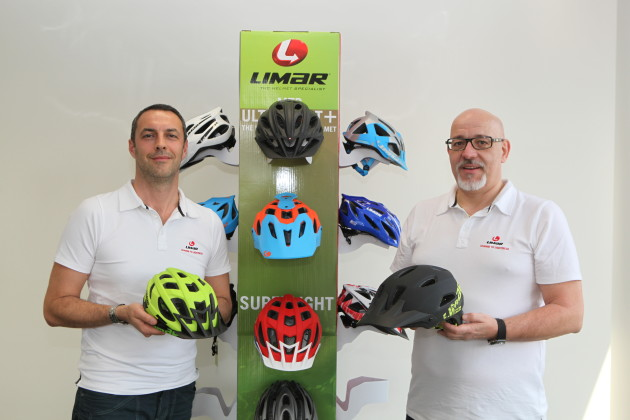 Giovanni Caporali and Eric Cendral (left) showing off their latest MTB helmets