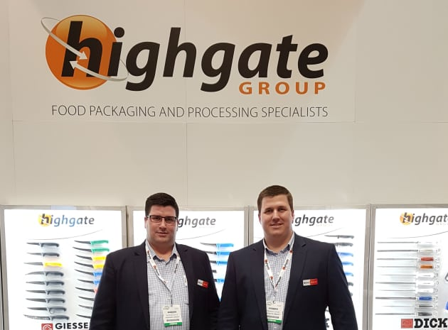 Alister and Brendan Joyce on the Highgate stand at Foodpro.