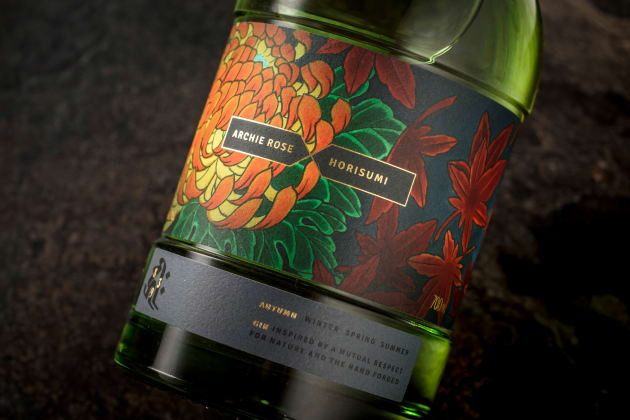 The first of four seasons in the Archie Rose X Horisumi limited edition rare gin series, with packaging designed by SquadInk.