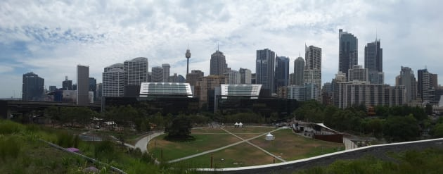 Top spot: spectacular views of the Sydney city skyline from the bar area of the event deck at ICC Sydney.