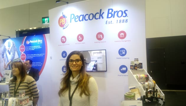 Peacock Bros partnered with Zebra Technologies to demonstrate its enterprise printing and data capture solutions, including Zebra's thermal label printers and  industrial label printer ZT410. Here on the stand is marketing assistant Maria Cerullo.