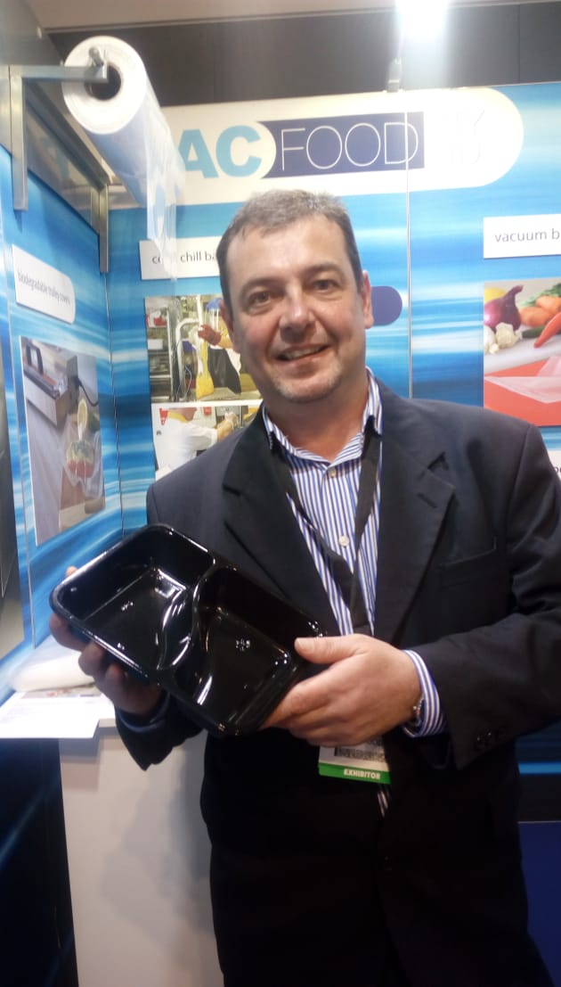 Pac Food sales assistant Anthony Vezos was on hand to demonstrate the company's range of heatproof, ovenable CPET trays for ready meals. 