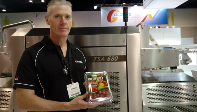 Ulma's regional sales manager (south) Tony Whelan took us through a range of containers with resealable lidding film suited to fresh produce and dry pet food, which enables more branding space on the product. Ulma uses the TSA 680 machine for the product.