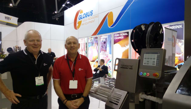 Globus Group CEO Chris Burt and group sales manager Michael Faure were on hand to demonstrate the Tipper Tie 1815 automatic clipper model, which runs cost-effective roll stock films. Compared with using traditional shirred casings, roll stock brings added versatility and critical operational benefits to automatic stuffing and clipping, such as longer production runs and less downtime, according to the team.