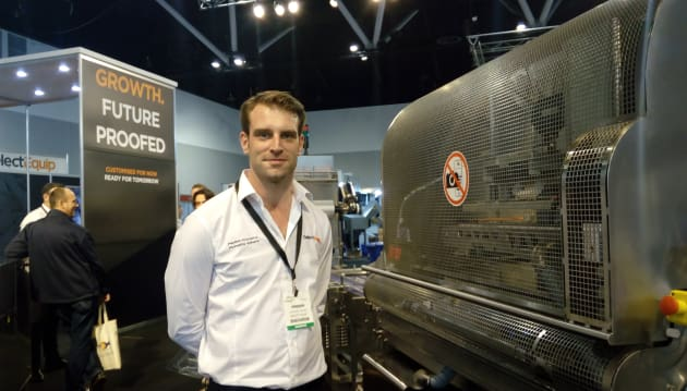 Select Equip area manager Jordan Adams took us through the Platformer machine, which can cut a tray's footprint before the forming process occurs, reducing scrap to just one per cent.