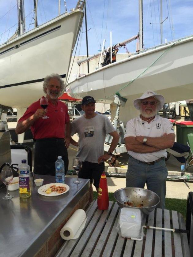 Once again a Classic end of year BBQ at the Royal Yacht Club of Victoria featuring Donati Sausages and fixing from Karen Batsons Resturant BONEY. Some of the Tum Assoc. BBQ team from the Tumlaren Avian, Roger Dundas, Mal Botterill and Peter Geravek. Photo G Tait.