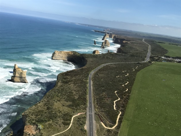 The Great Ocean Road from the air.