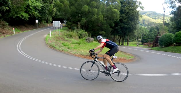 The corners offer all but a brief reprieve from the pain during the challenging Jamberoo Pass climb. Image: Nat Bromhead.