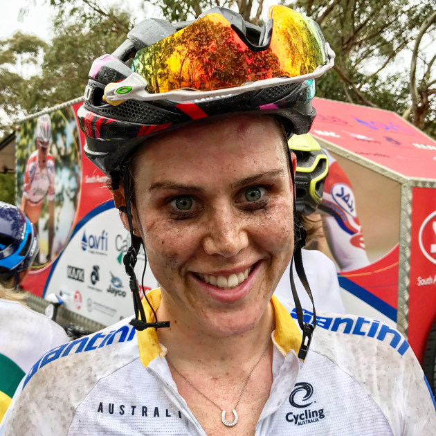 Tiffany Cromwell, one of stage winner Katrin Garfoot's Uni-SA teammates after the rain-soaked stage. Image Nat Bromhead.