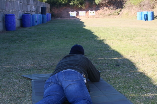 Last shooter hunkered down at 50 metres