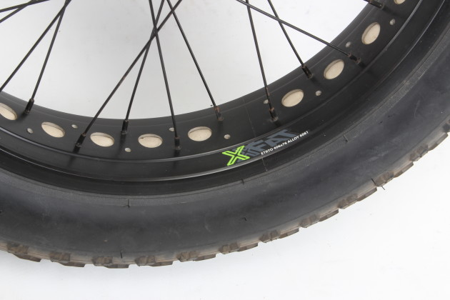 True 4.0 fat bike tyres on 80mm wide alloy rims - some serious flotation right here!