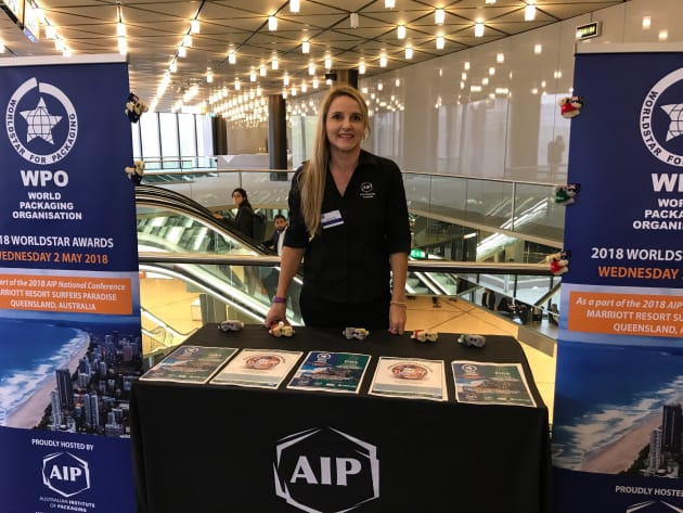 Nerida Kelton, AIP executive officer at Interpack promoting the AIP conference and the 2018 WorldStar Aawrds to be held in Australia in May 2018.