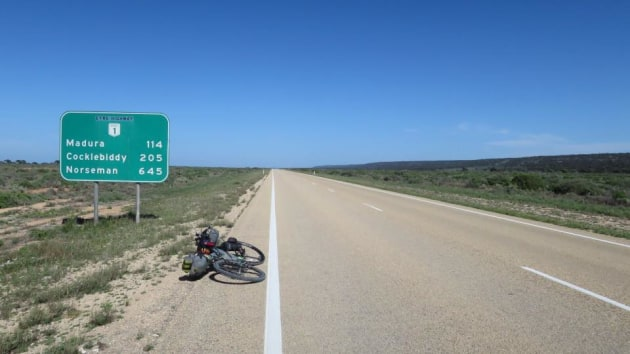 Cross-Australia rider Markus Stitz took this iconic image on his way across 90-mile straight on the Nullarbor Plain. Image IPWR/ Markus Stitz.