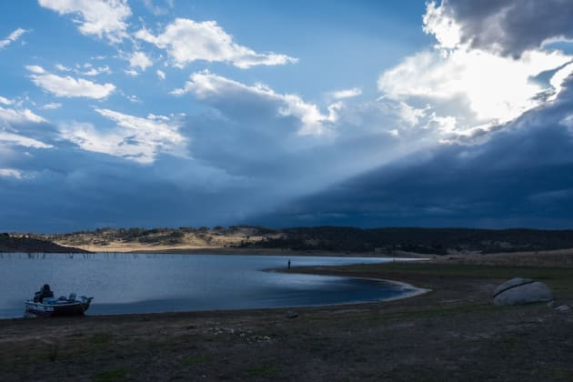 Snowy Mountains lakes such as Eucumbene pictured here are susceptible to fluctuating levels during the warmer months which can greatly affect the fishing.