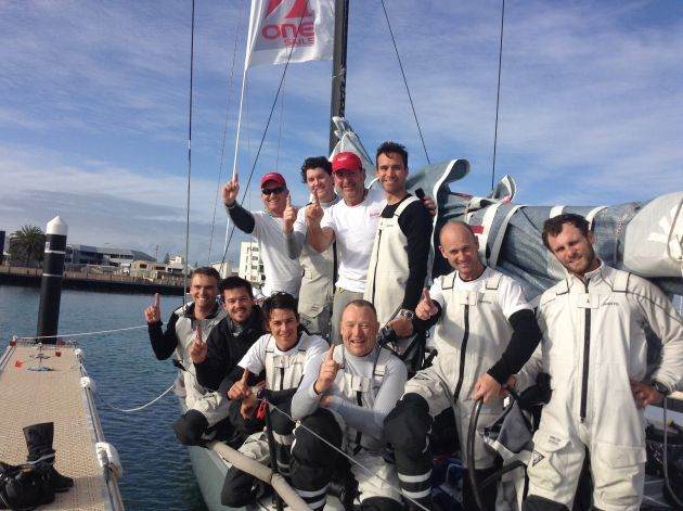 The victorious crew on Indian at the finish in Geraldton. Photo Cherry Calcott.