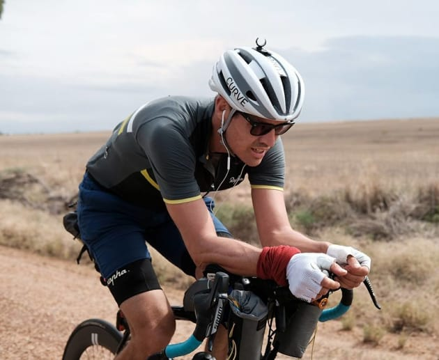Jesse Carlsson covered more than 600km in Day 1 of the gruelling trans-Australia event. Image. Rapha Australia / IPWR.