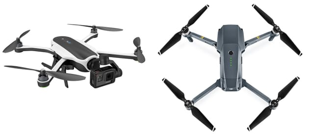 GoPro Karma Left And DJI Mavic Pro