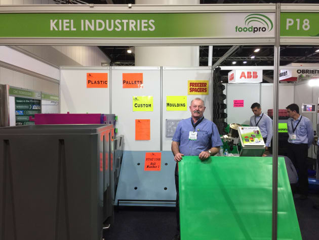 Kiel Industries' Colin Kiel was on the stand, showing the company's food-grade hopper bins, which have a slide gate at the bottom to empty discharge, and are finding favour among coffee and nut processors, according to Kiel.