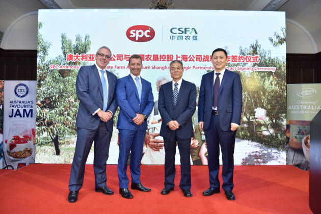 L-R: Tim Dillon, Commissioner Greater China Victorian State Government; Reg-Weine MD SPC; Zhou Xianbia, President CSFA Group Corporation; Zhao Qingyong, GM CSFA Holdings,Shanghai.