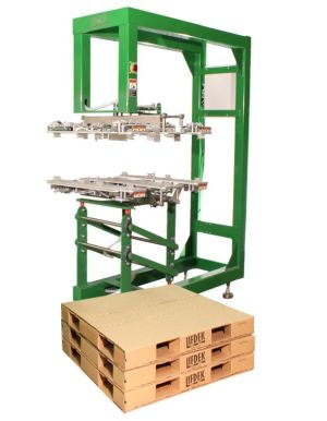 Lifdek pallets are recycled by the end receiver with old corrugated boxes, generating recycling revenue while eliminating storing and loading pallets for pick-up.
