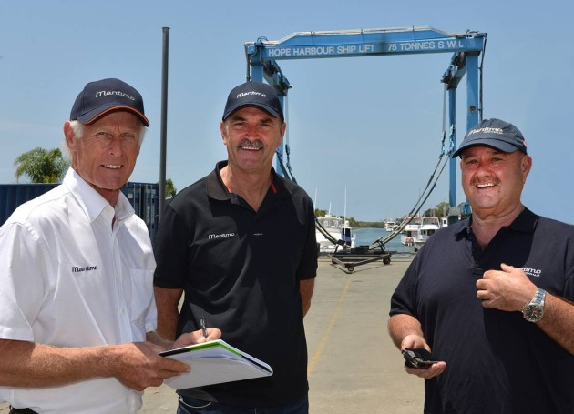 At your service: (l-r) Gary Klein, Phil Candler and Peter McGrath have put out the welcome mat to Gold Coast boaties at the company's Hope Harbour service centre.