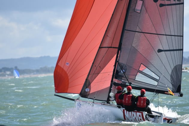 Tasmanian Paul Burnell steering the British SB20 Marvel to victory on day 2 of Cowes Week. Photo Jane Austin.